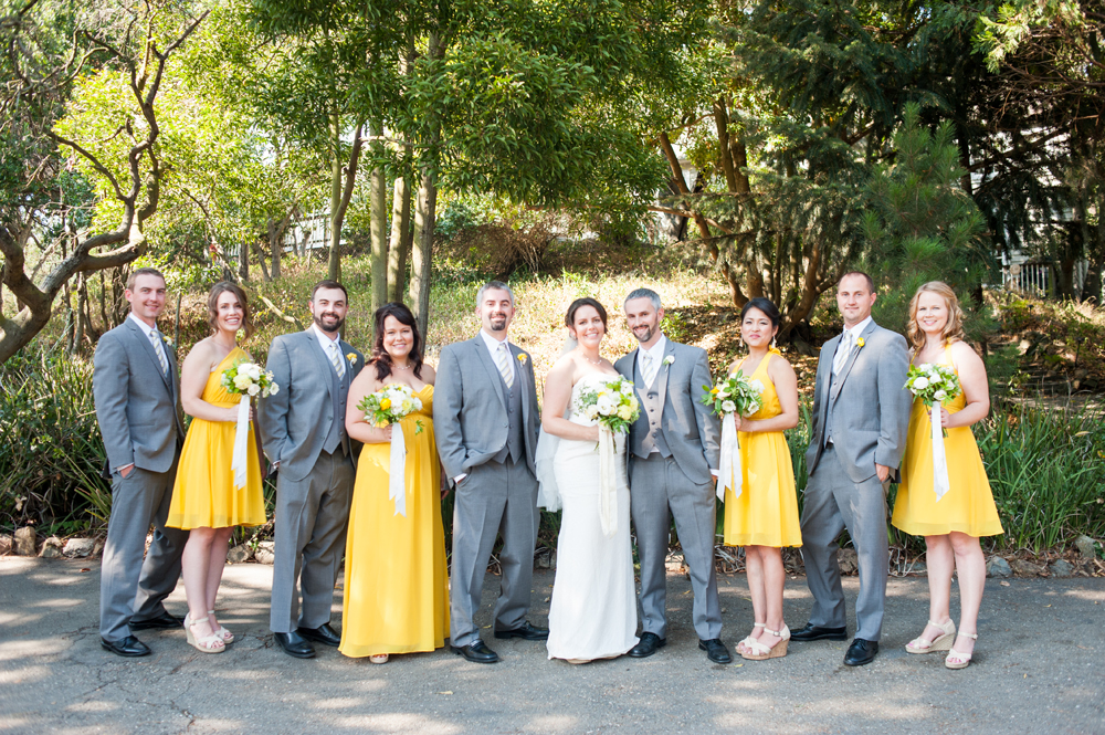 Wedding party at Scout Rock in Oakland