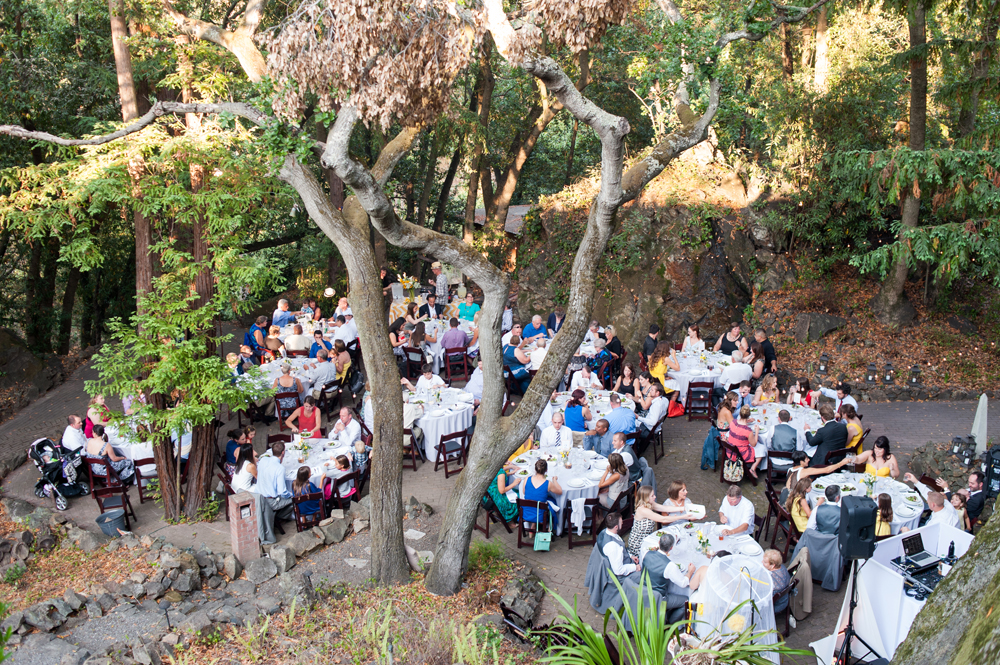 Birds eye view of wedding reception at Scout Rock in Oakland