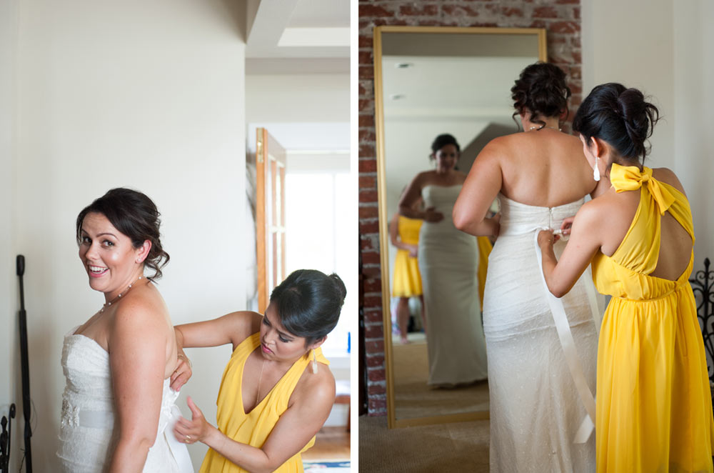 Bride getting into wedding dress at Scout Rock in Oakland