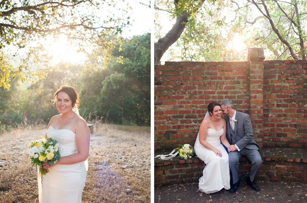 Bride and groom portraits in Oakland at Scout Rock wedding venue