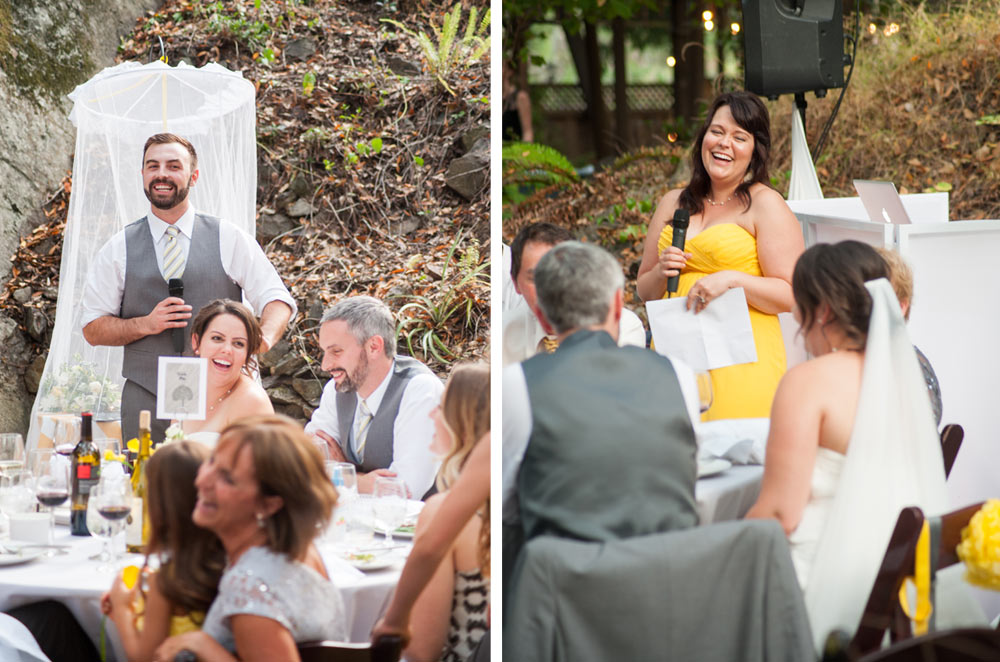 Best man and maid of honor giving wedding toasts