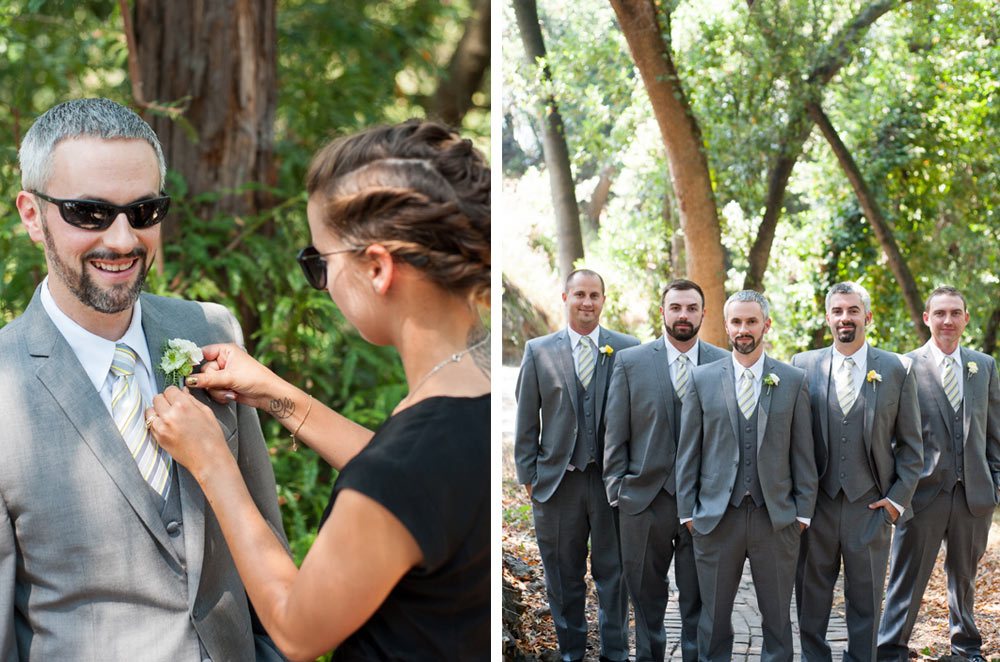 Groom getting his boutonnière applied