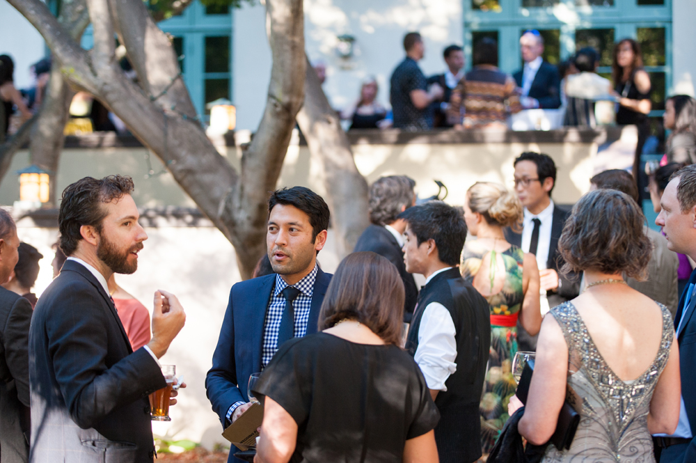 Wedding guests during cocktail hour at UC Berkeley Faculty Club