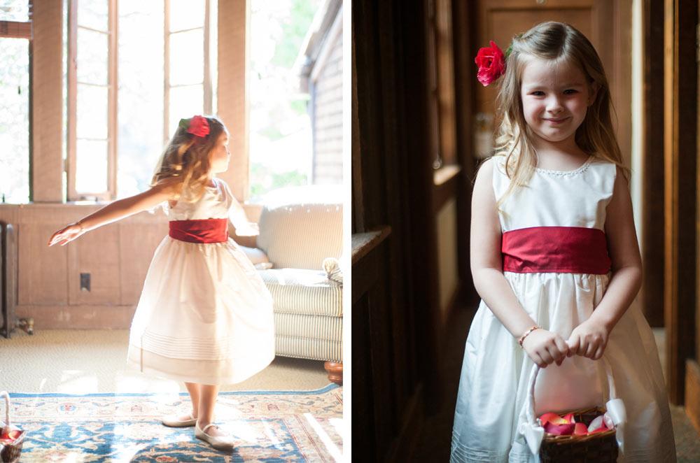 Portraits of flower girl at UC Berkeley wedding