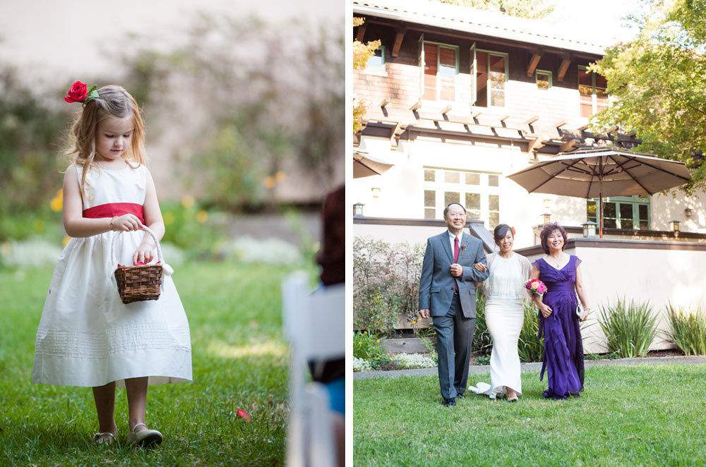 Photo of flower girl walking down aisle and photo of bride walking down aisle