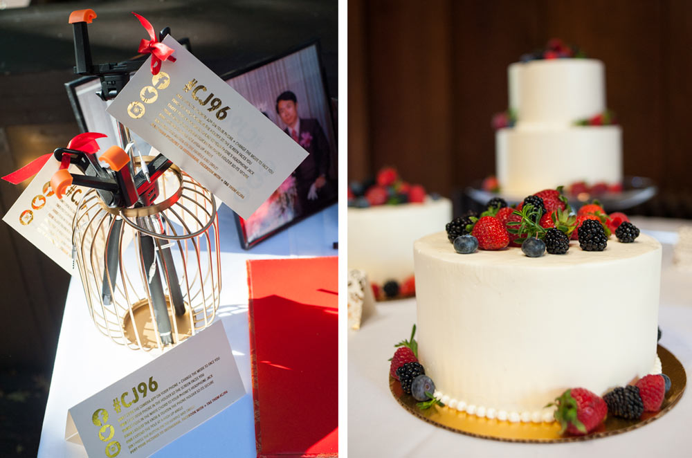 Photo of wedding cake with berries on top