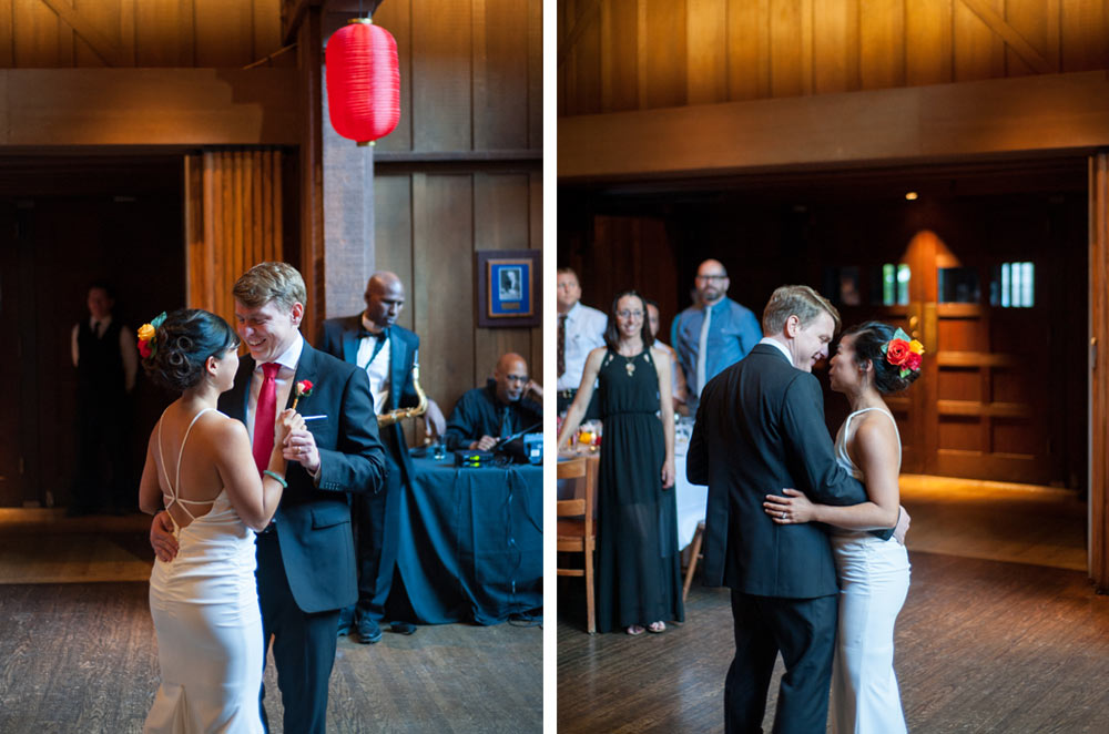Bride and Groom share first dance at the Faculty club at UC Berkeley