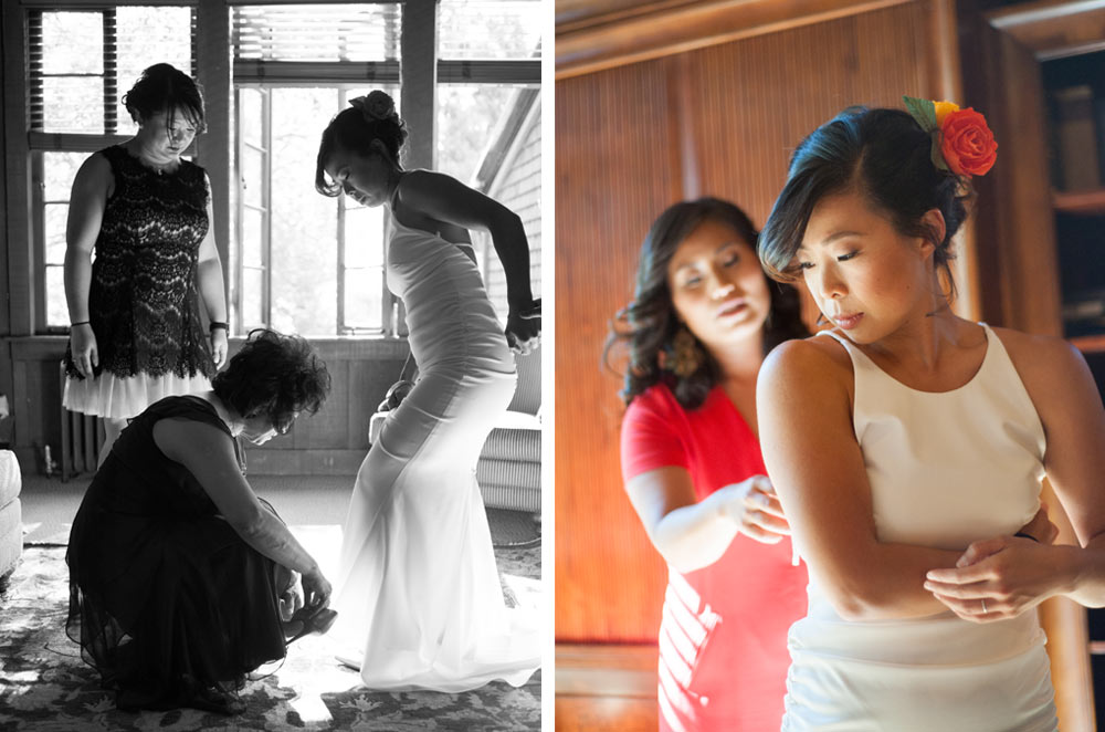 Bride getting in dress and wedding shoes at UC Berkeley