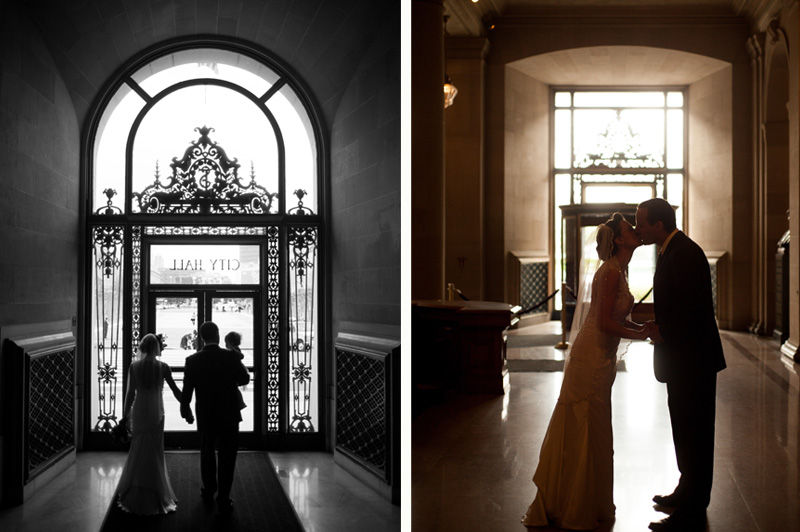 Portrait of couple kissing in San Francisco City Hall next to portrait of couple walking out door