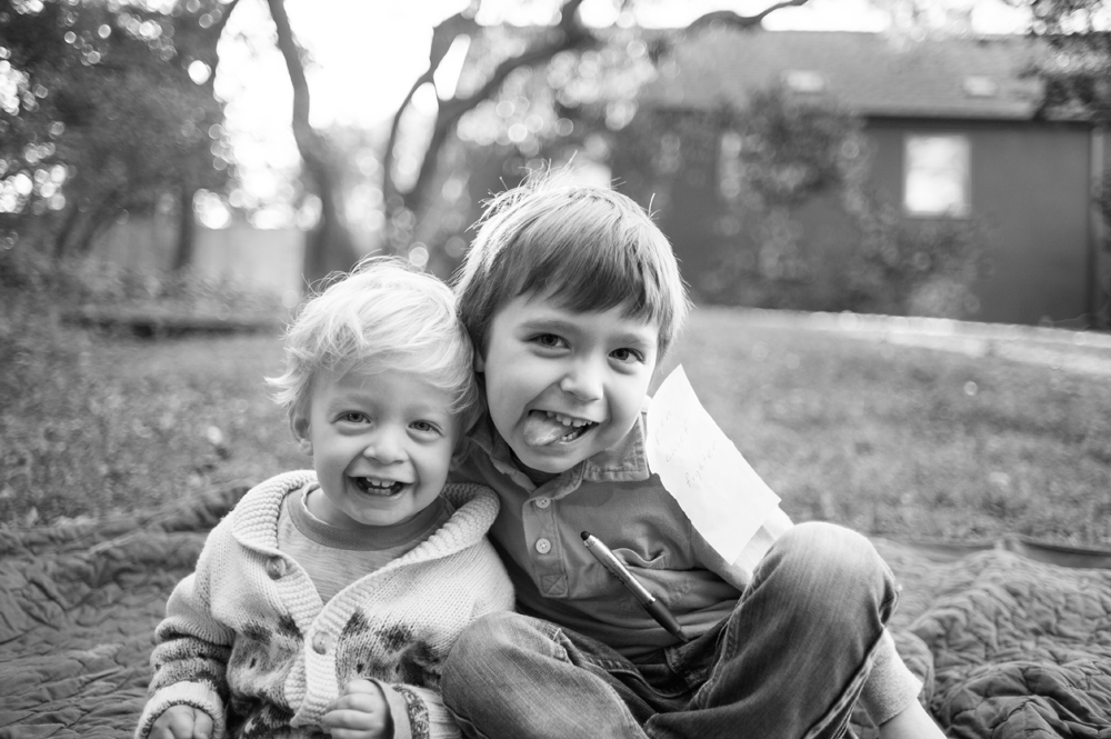 Brothers being silly at Live Oak Park in Berkeley