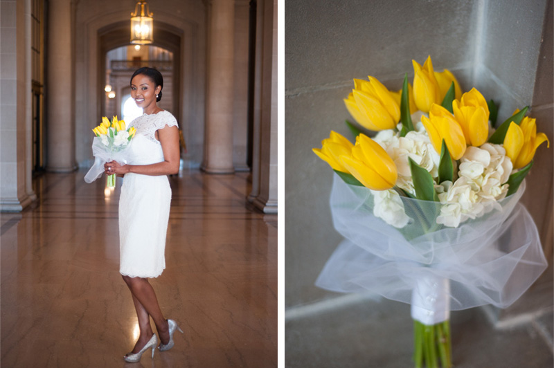 Portrait of bride at San Francisco City Hall holding bouquet of yellow tulips