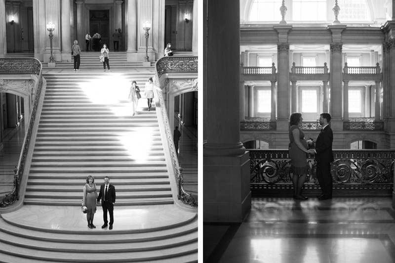 Bride and Groom standing on grand staircase at San Francisco City Hall