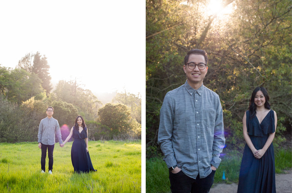 Two portraits of engaged couple in Tilden Park