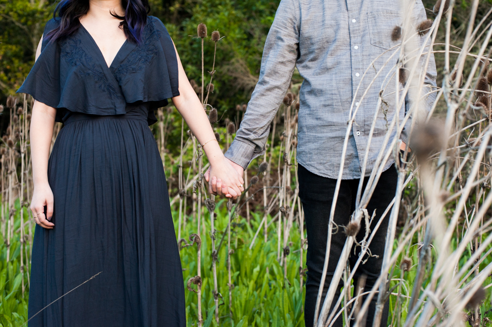Detail photo of couple holding hands amidst thistle