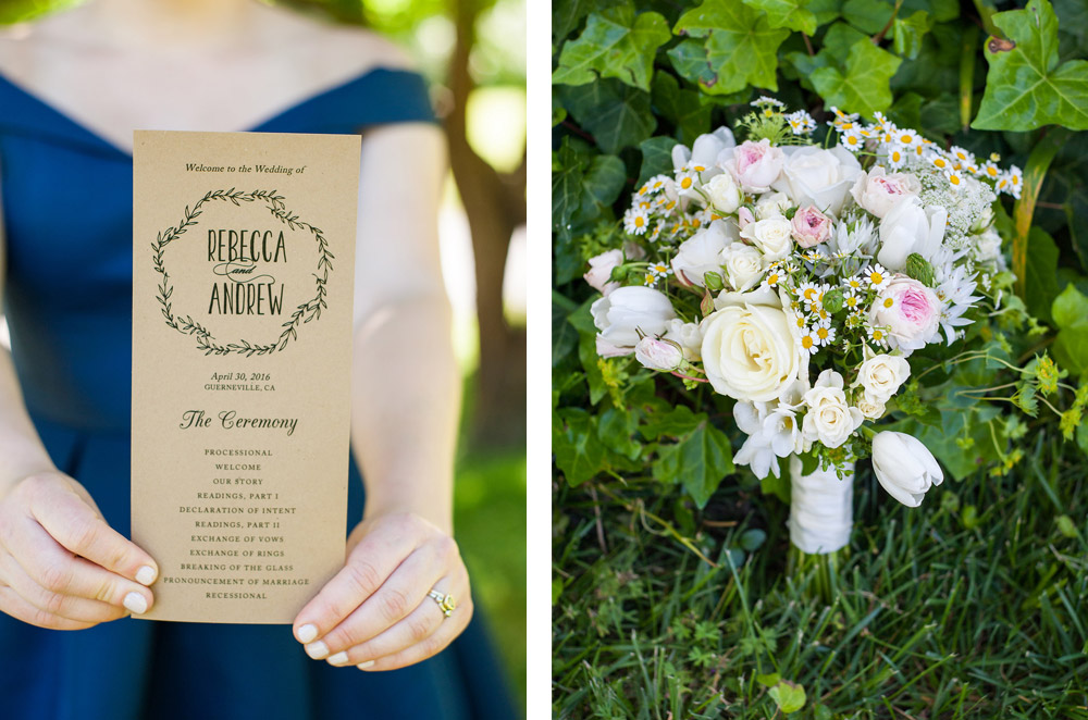 Detail photos of wedding program and bouquet