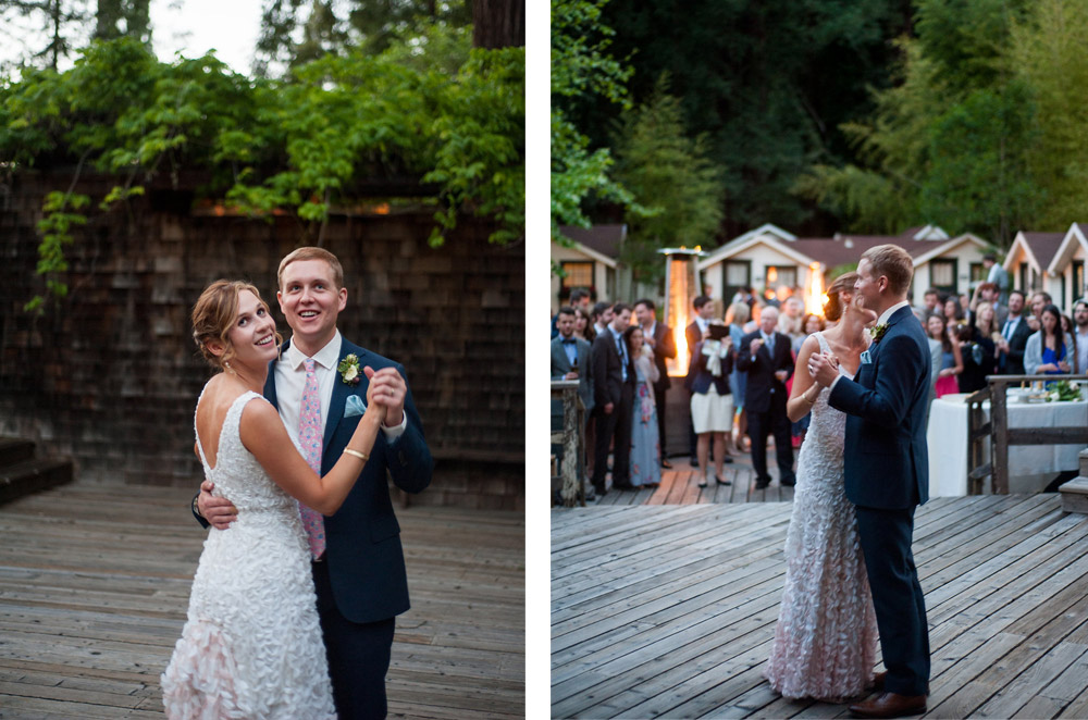 Photos of the bride and groom dancing in front of weddings guests at Dawn Ranch