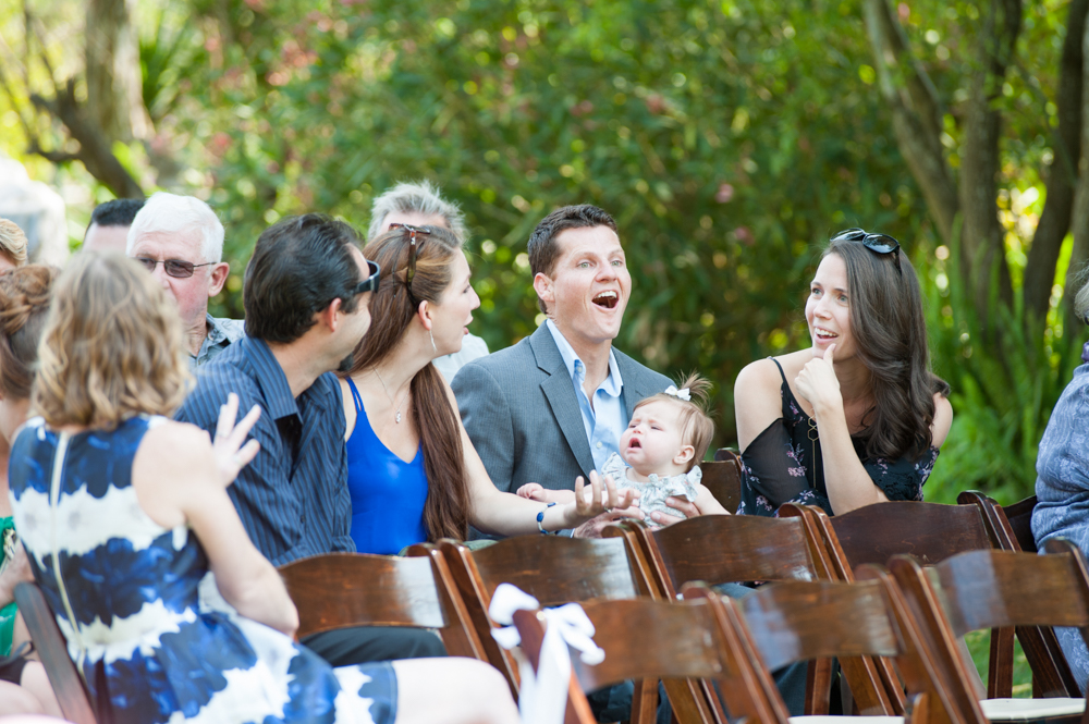 Candid of wedding guests before ceremony at Rancho Soquel
