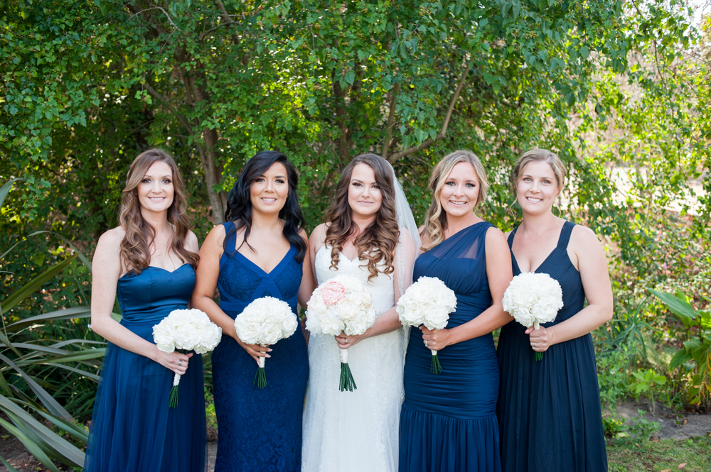 Portrait of bride and her bridesmaids at Rancho Soquel