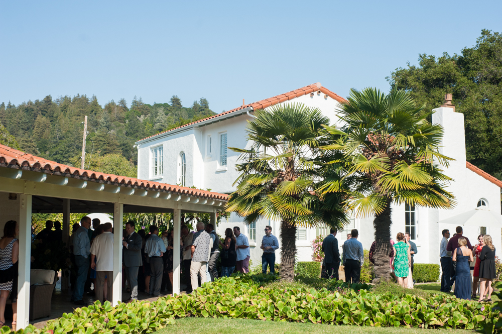 Wedding guests during cocktail hour at Rancho Soquel