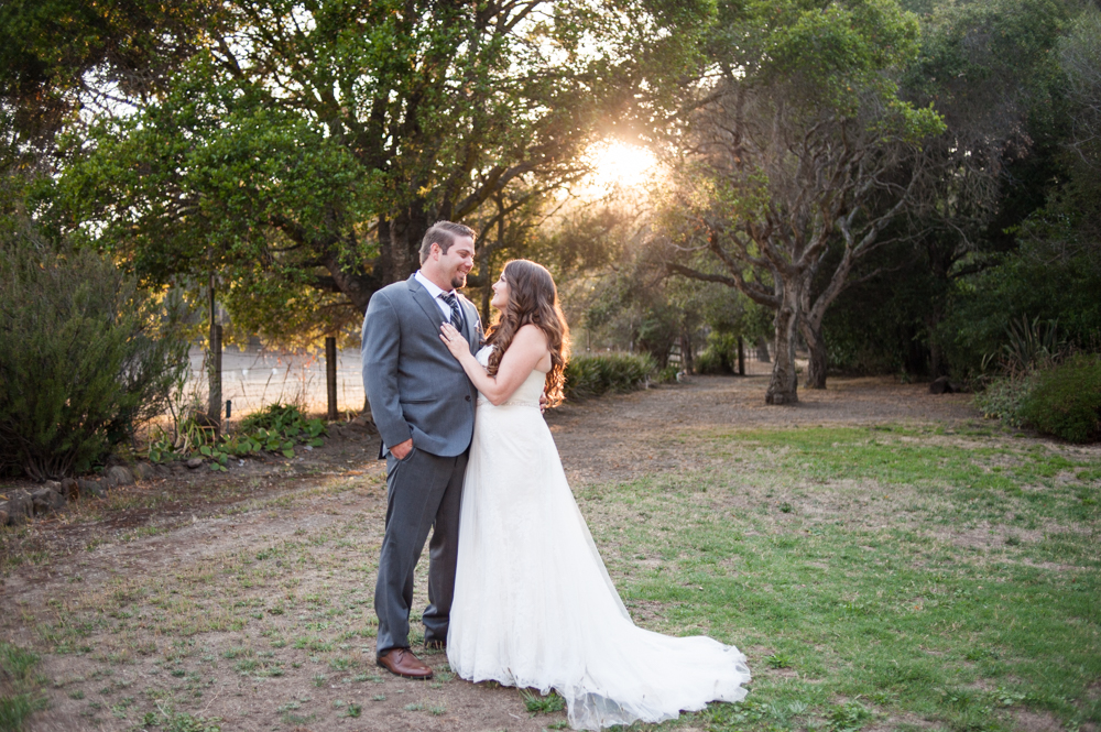 Bride and groom portrait at sunset at Rancho Soquel