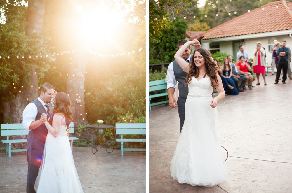Golden sunset first dance at Rancho Soquel