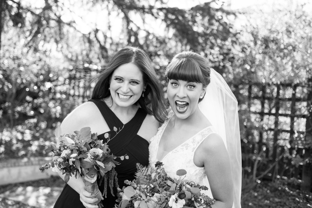 Bride and bridesmaid excited
