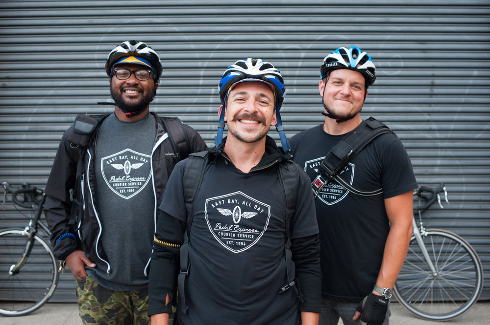 Team business portrait for Oakland based bike courier