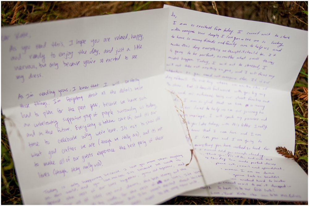 Detail photo of wedding couple's handwritten notes