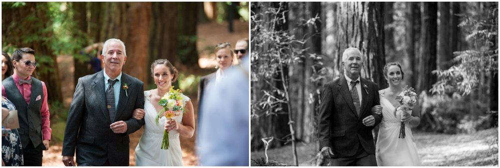 Father of bride walking daughter down the aisle in redwood grove