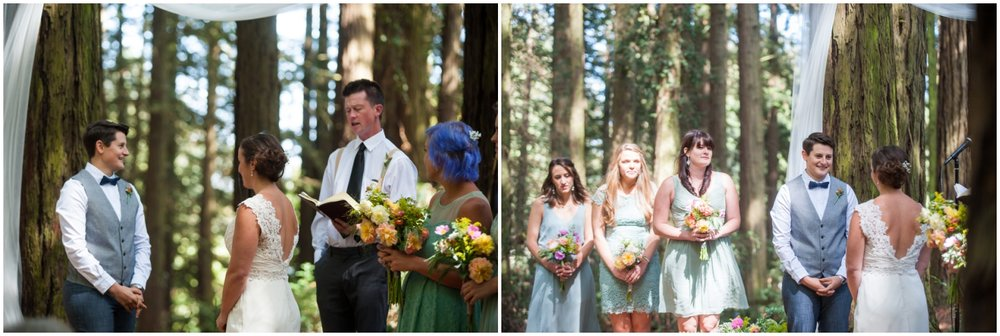 Couple surrounded by close friends and family during wedding at Roberts Recreation Area