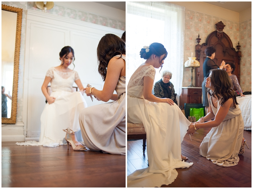Bride putting on shoes at Elliston Vineyards
