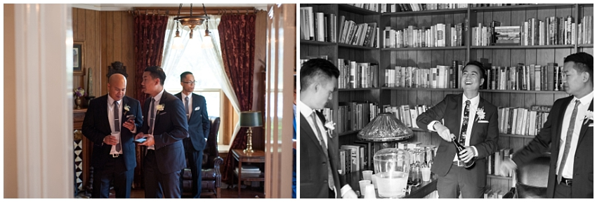 Candid portraits of groom and groomsmen in the library at Ellison Vineyards
