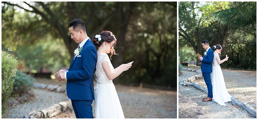 Bride and Groom reading letters to one another during first look in Sunol
