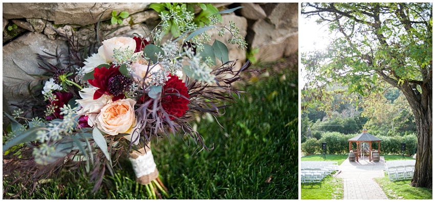 Detail image of bridal bouquet and ceremony site at Elliston Vineyards