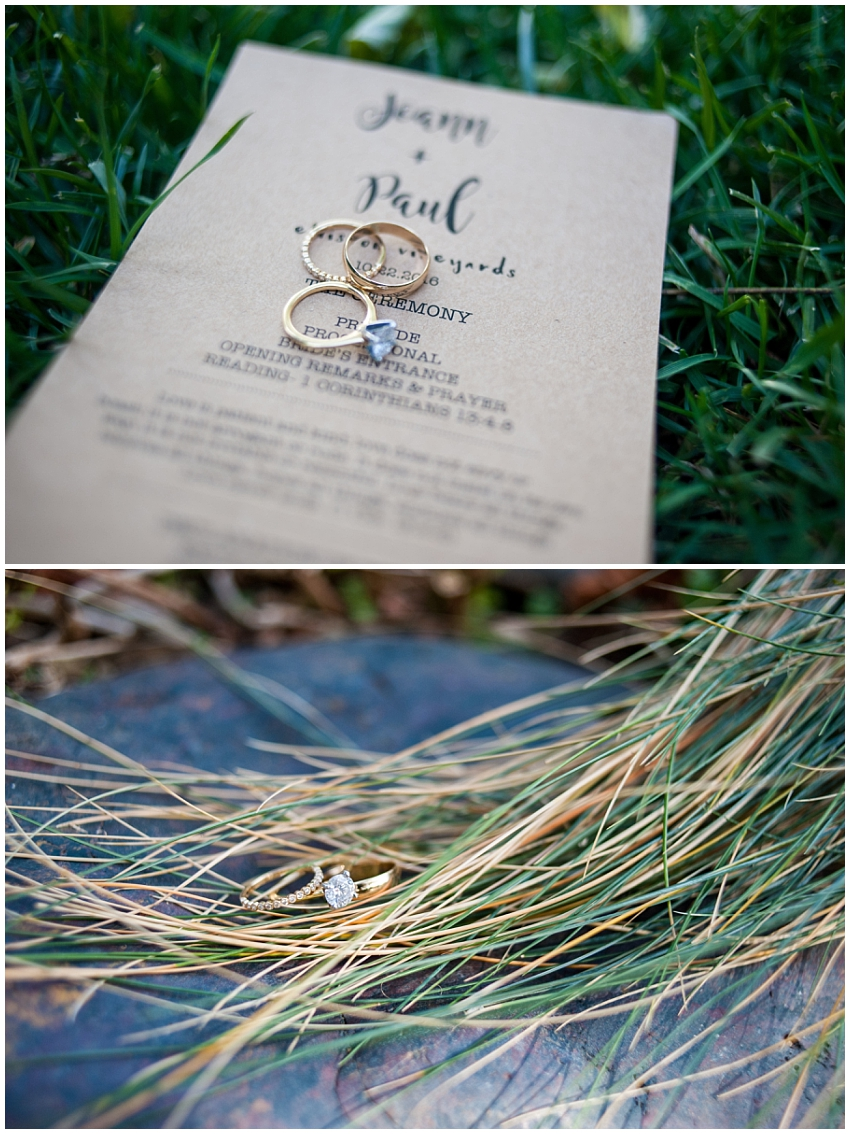 Detail photo of wedding rings and program at Elliston Vineyards