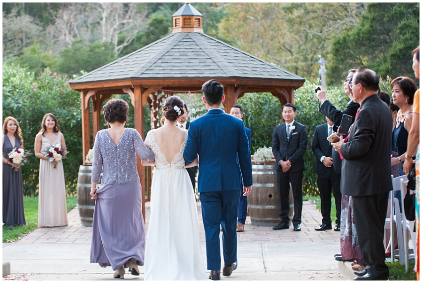 Bride approaching the alter in Sunol, CA
