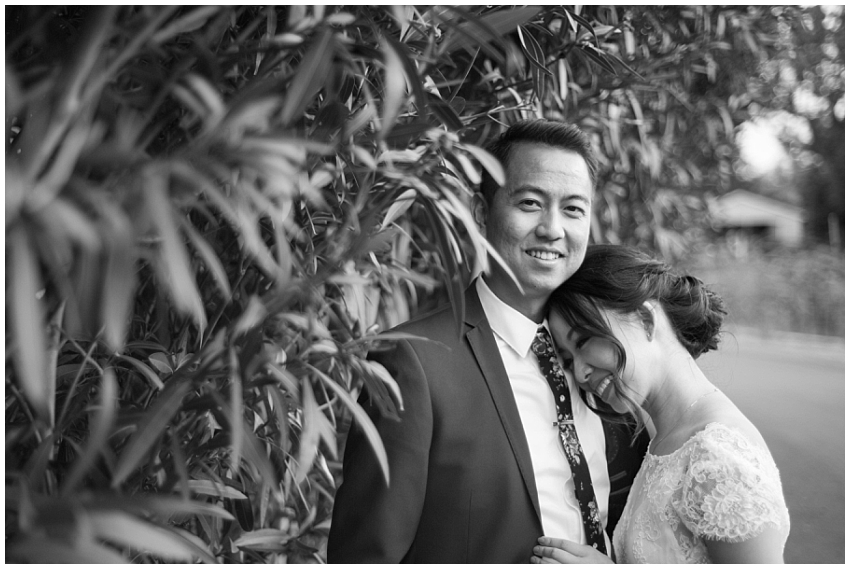 Wedding portrait of bride and groom in Sunol, CA