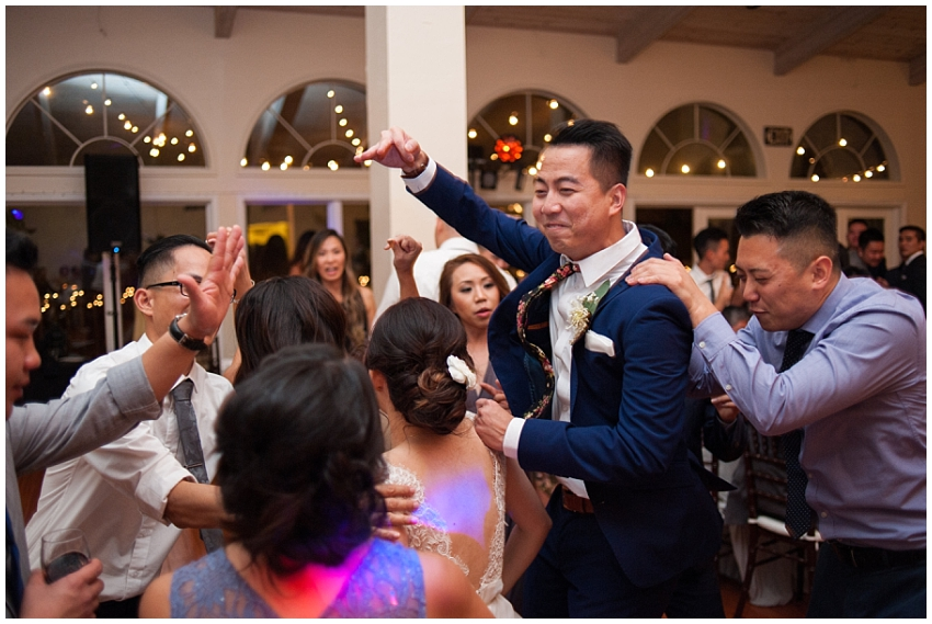 Groom having a good time dancing in Sunol wedding