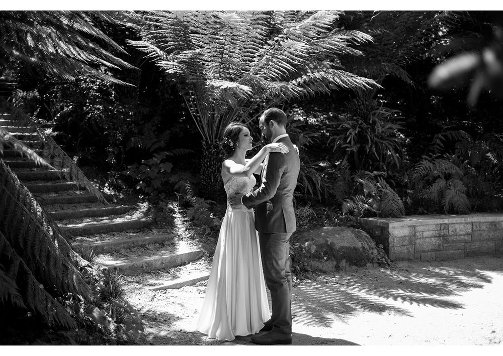 First look of bride and groom in Golden Gate Park