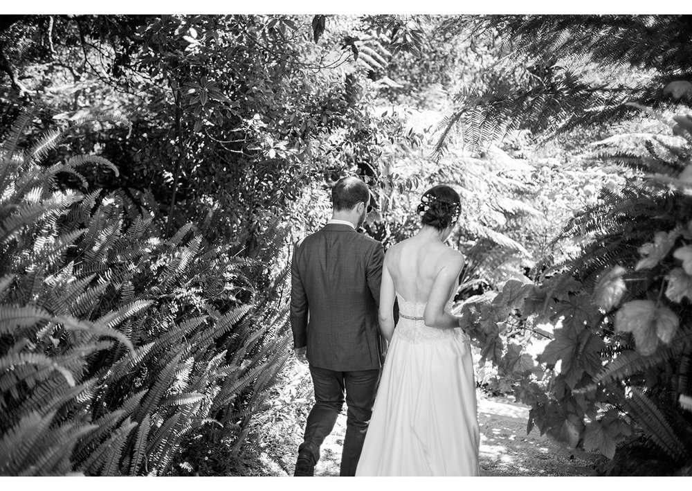 Bride and Groom walking through fern grove in Golden Gate Park