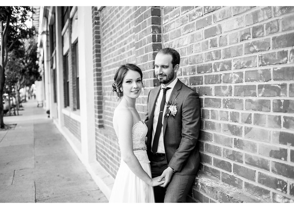 Portrait of bride and groom in San Francisco dogpatch neighborhood