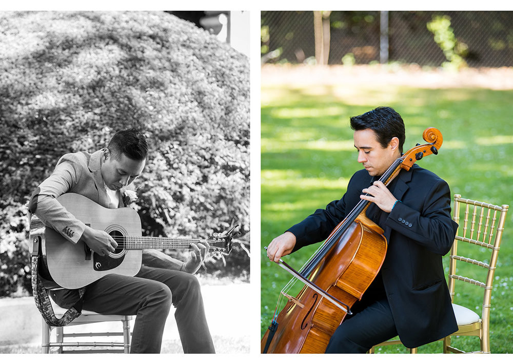 Side by side photos of wedding musicians