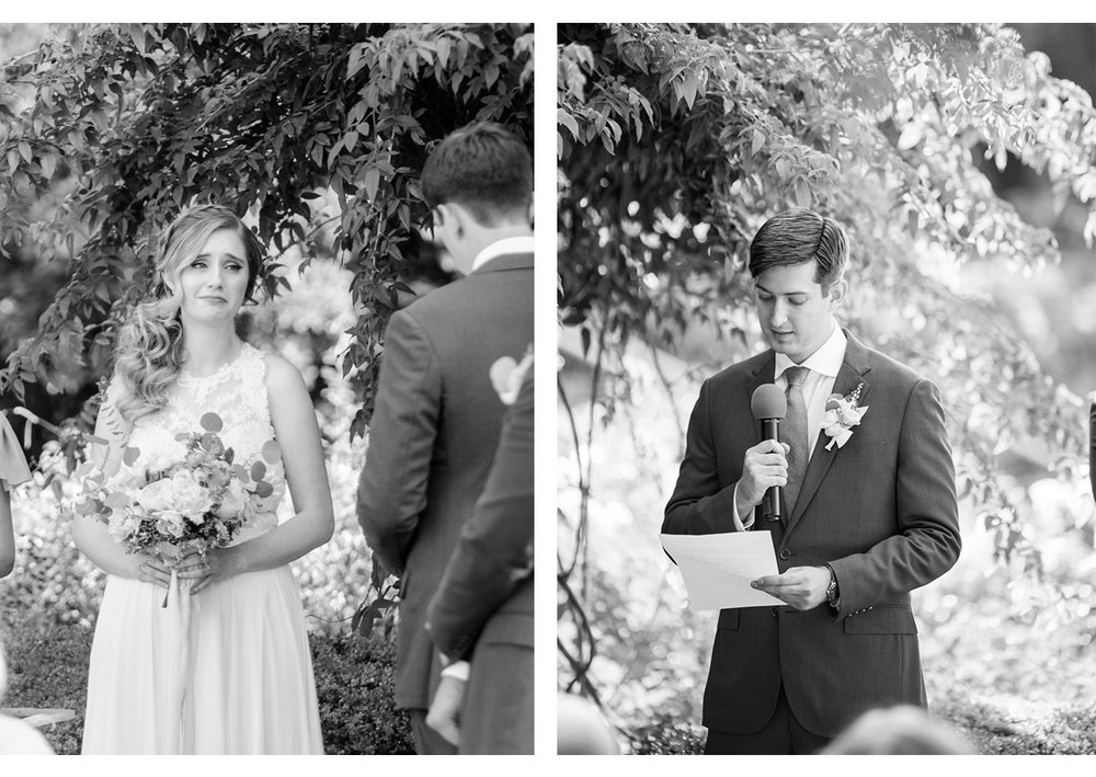 Bride listening to Groom recite his vows during wedding ceremony