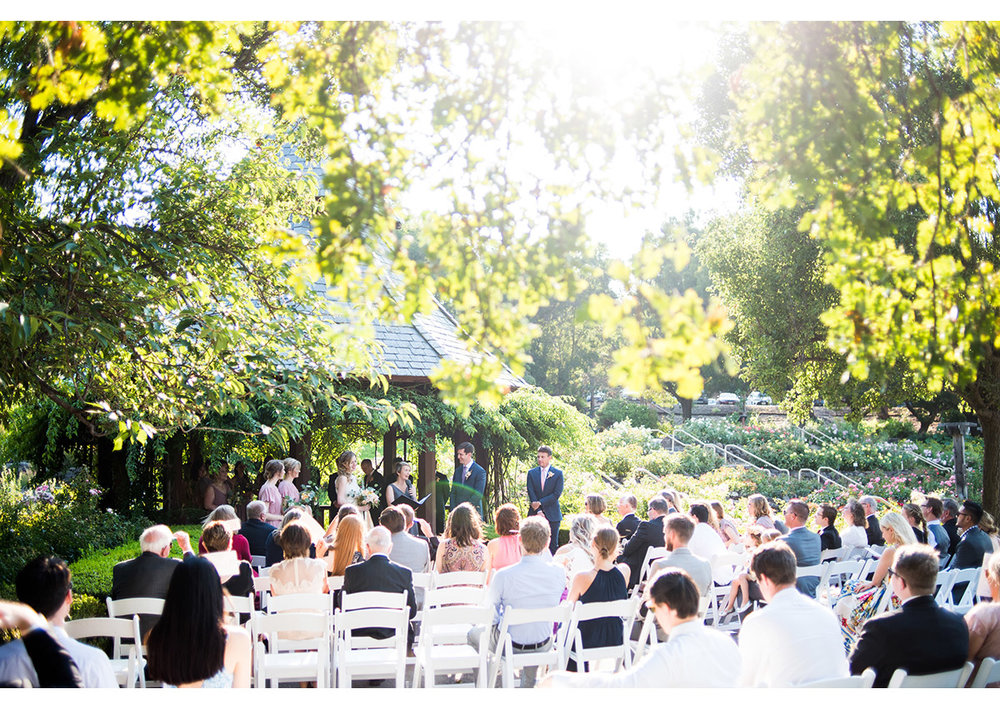 Sun filled photo of ceremony site at Heather Farm gardens