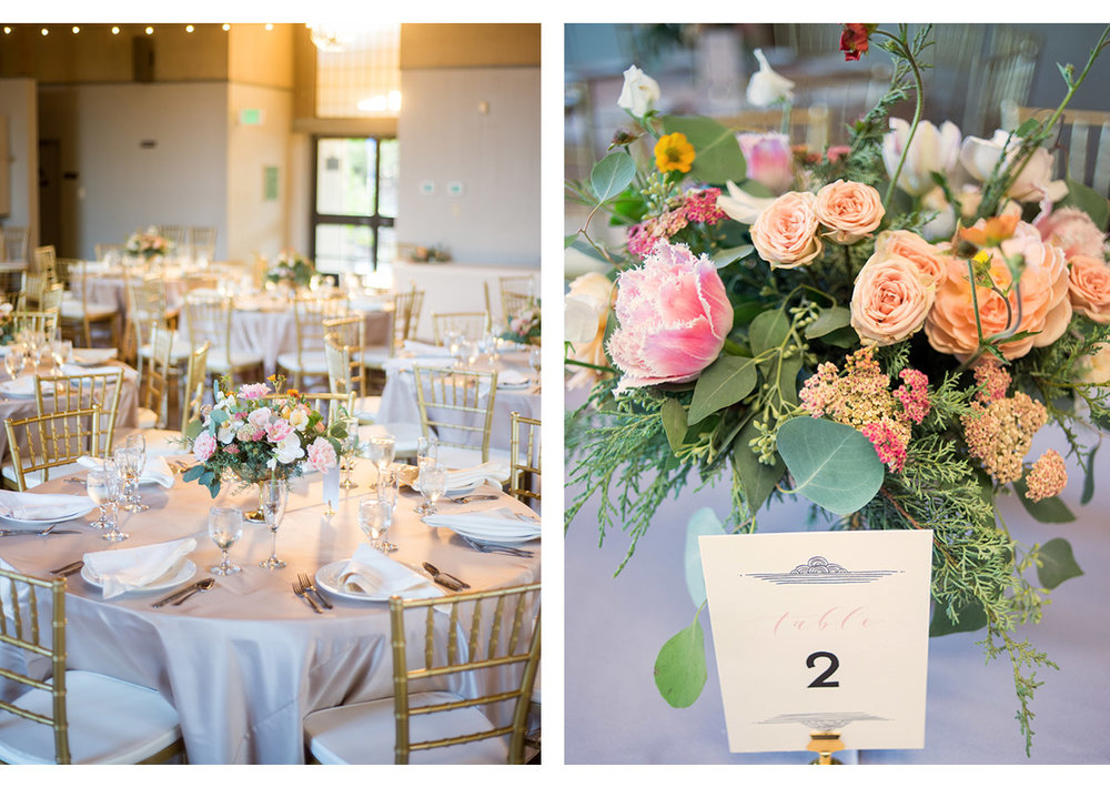 Details of wedding table arrangement
