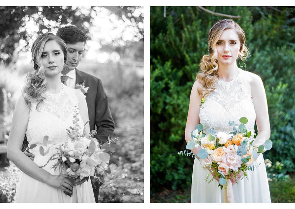 Side by side portraits of bride and groom