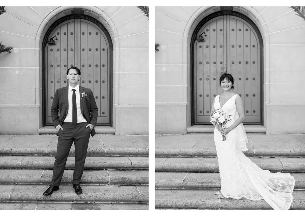 Side by side portraits of Bride and Groom at Presidio