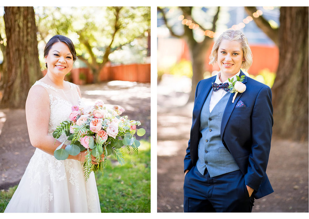 Side by side portraits of brides at Mountain Terrace