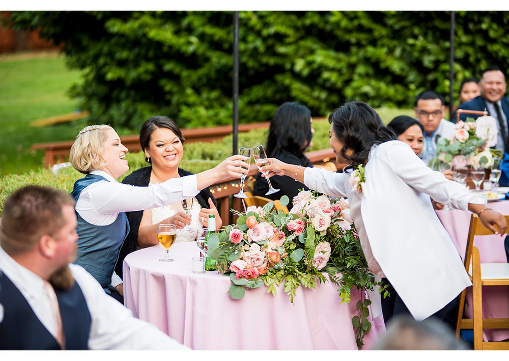 Bride's toasting with officiant