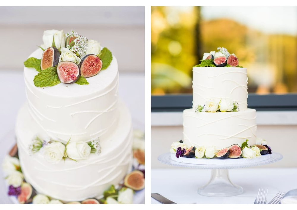Side by side photos of fig and mint wedding cake